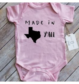 Paper Cow Paper Cow- Made In Texas Ya'll Newborn Onesie- Pink