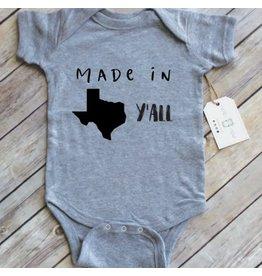Paper Cow Paper Cow- Made In Texas Ya'll Newborn Onesie- Grey