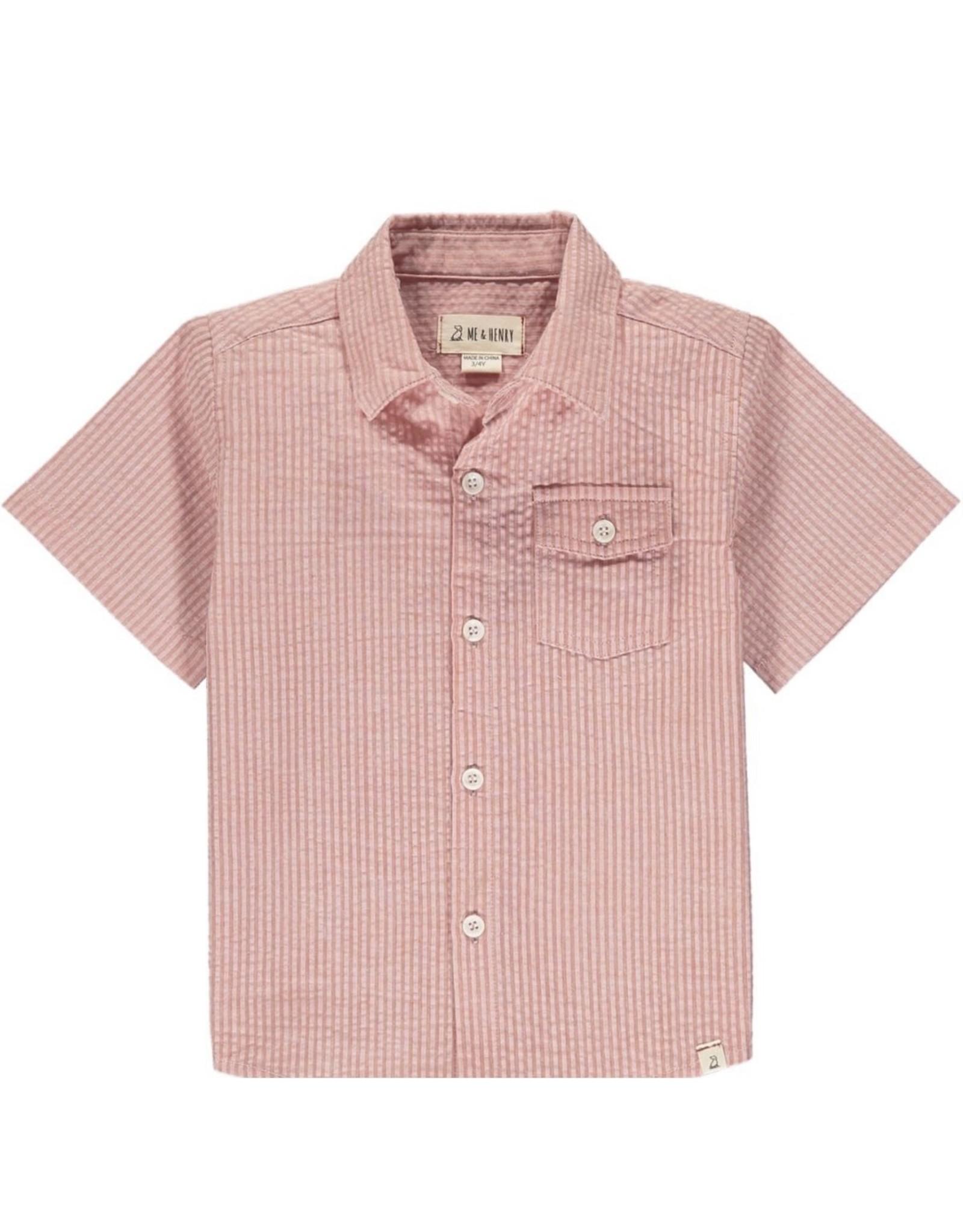 Me & Henry Me & Henry- Coral Seersucker Newport Shirt