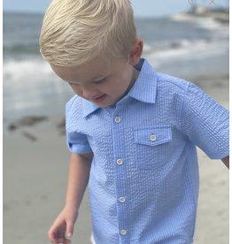 Me & Henry Me & Henry- Pale Blue Seersucker Newport Shirt