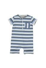 Me & Henry Me & Henry- Blue Multi Ribbed Stripe Camborne Henley Romper