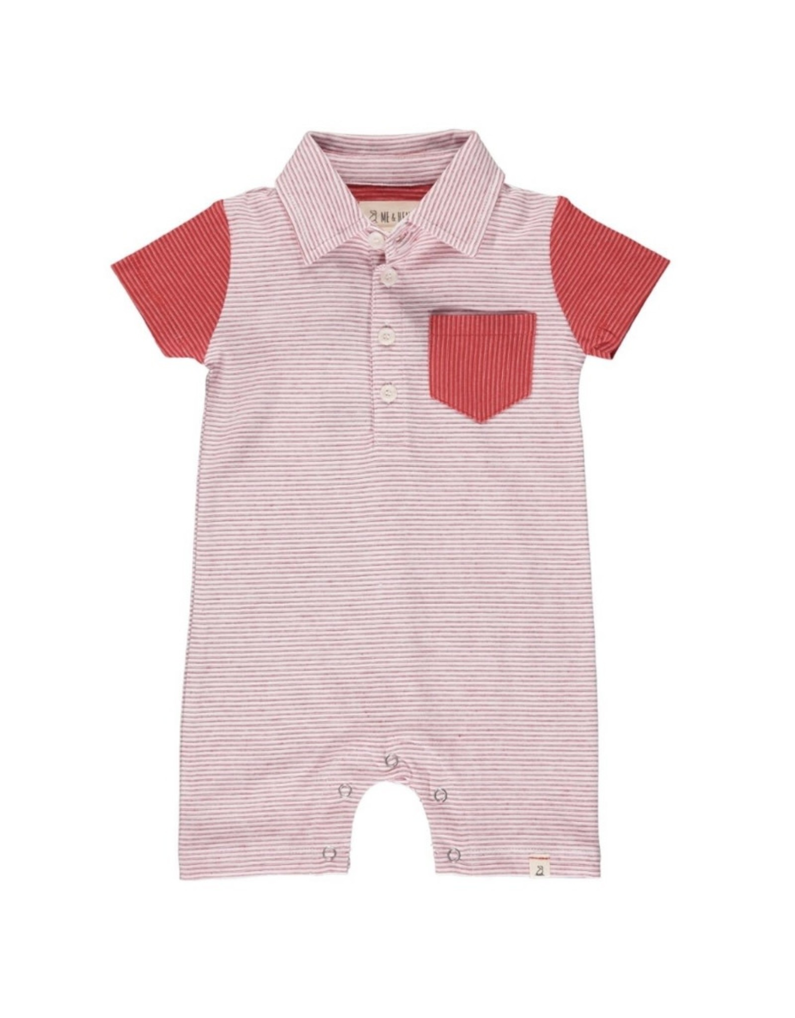 Me & Henry Me & Henry- Red/White Micro Stripe Saltash Polo Romper