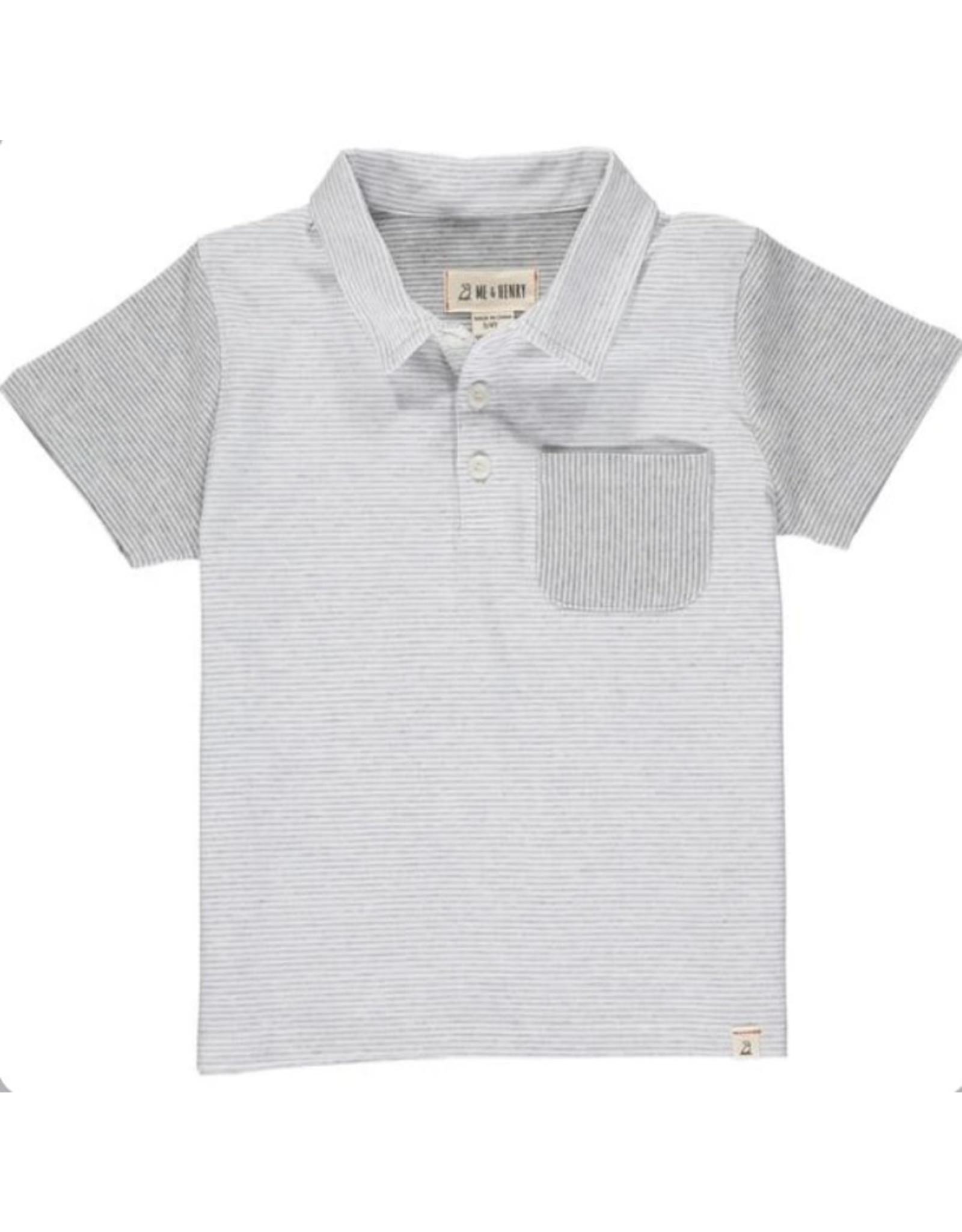 Me & Henry Me & Henry - Grey/White Micro Stripe Polo
