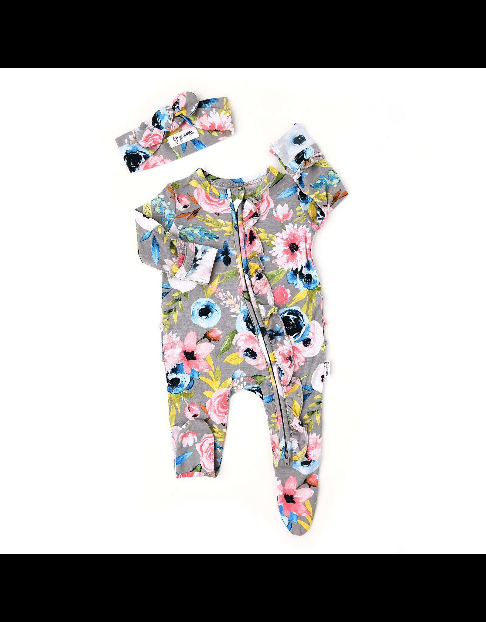 Gigi & Max Gigi & Max- Hazel Floral Newborn Ruffle Zipper Footie & Headband Set