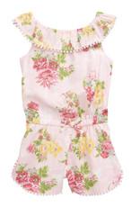 Little Me Little Me- Floral Woven Romper