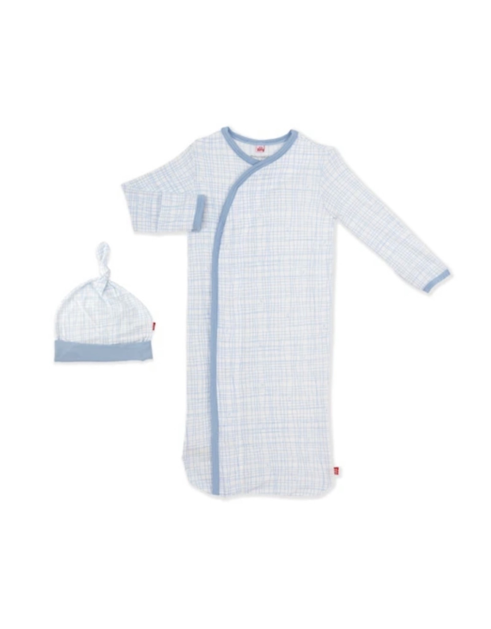 Magnetic Me Magnetic Me- Greenwich Plaid Modal Magnetic Gown & Hat Set 0-3M