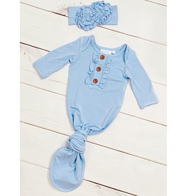 Swoon Baby Swoon Baby- French Blue Knot Gown w/Headband