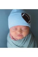 ILYBEAN Ilybean- Blue Chenille Football Nursery Beanie