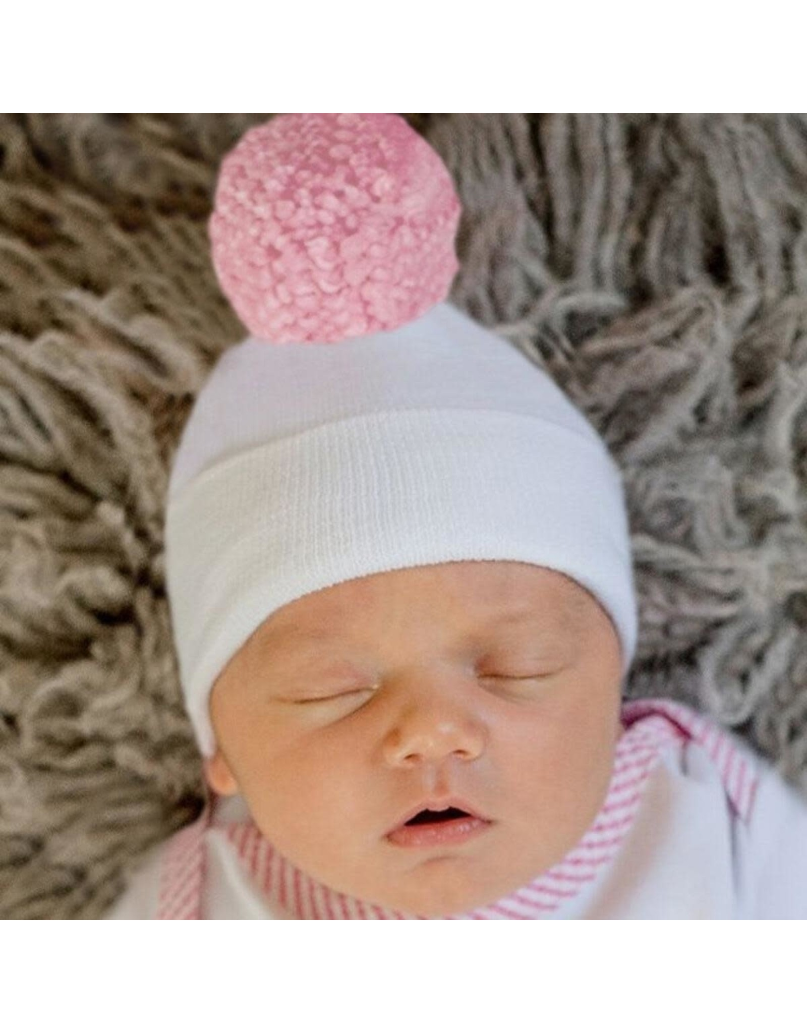 ILYBEAN Ilybean- Penelope Pink Pom Nursery Beanie