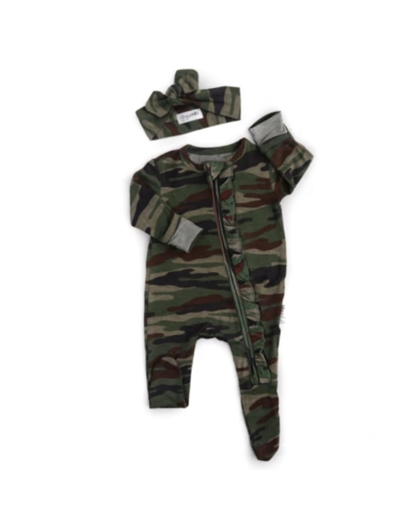 Gigi & Max Gigi & Max - Camo Ruffle Newborn Footed Zip & Heaband Set