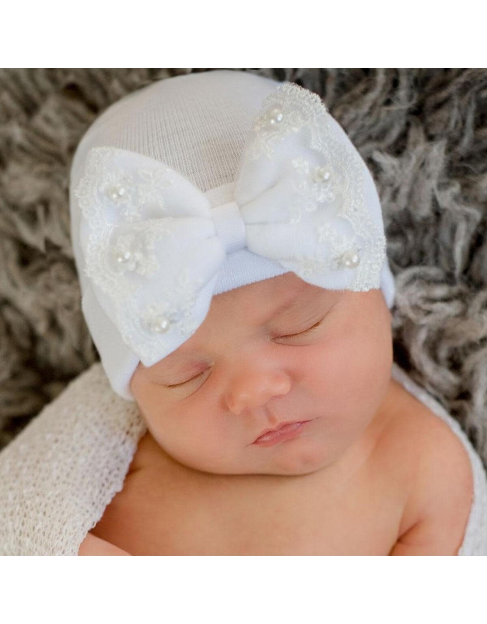 ILYBEAN Ilybean- Pearl & Lace Bow Nursery Beanie