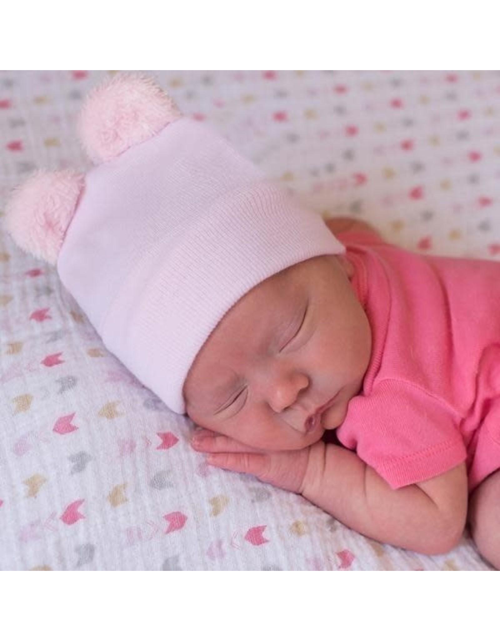 ILYBEAN Ilybean- Pink Bear Fuzzy Ears Nursery Beanie