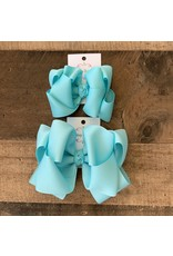 OS- Crystal Blue Stacked Grosgrain Bow