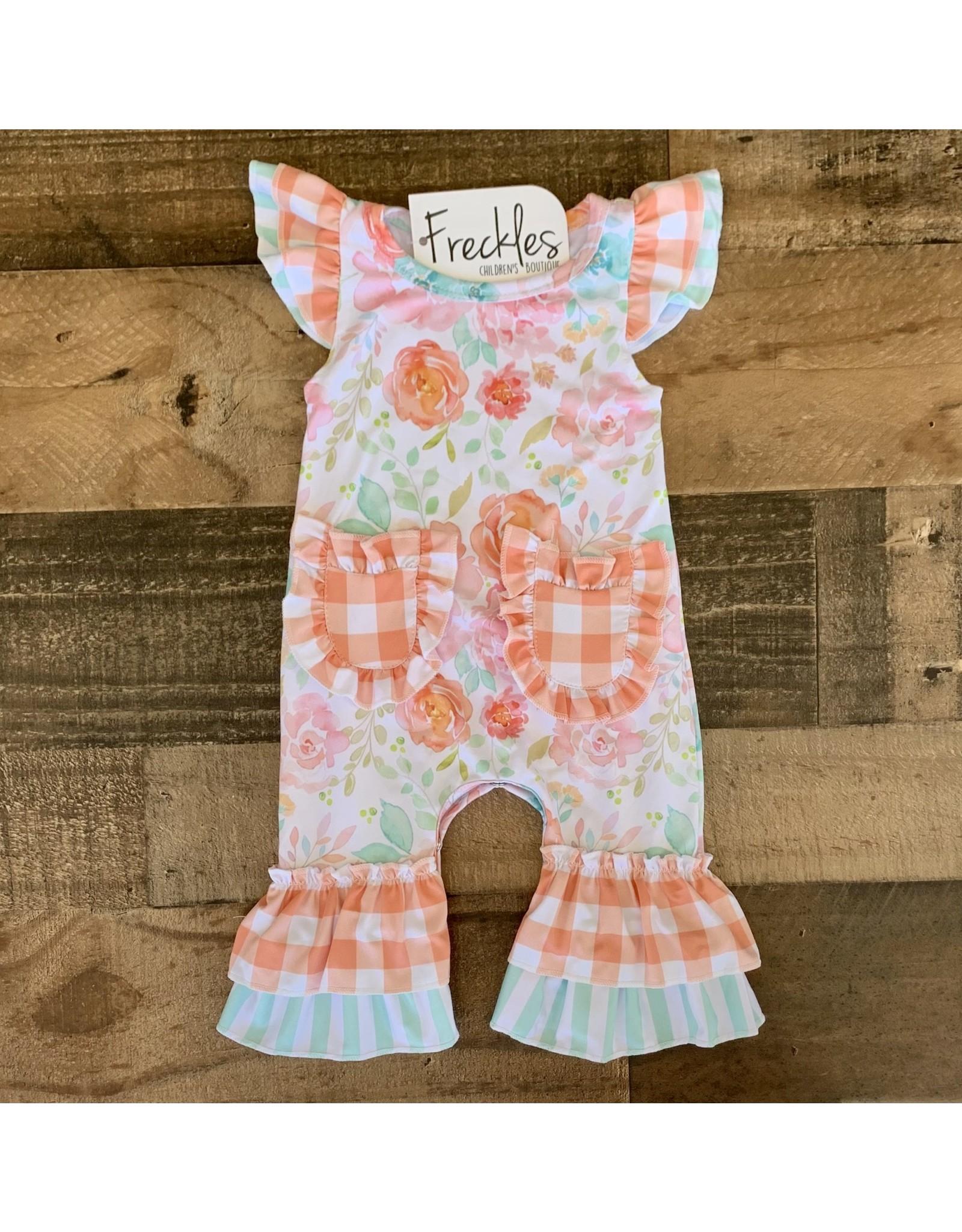 Mint Peach Floral Romper