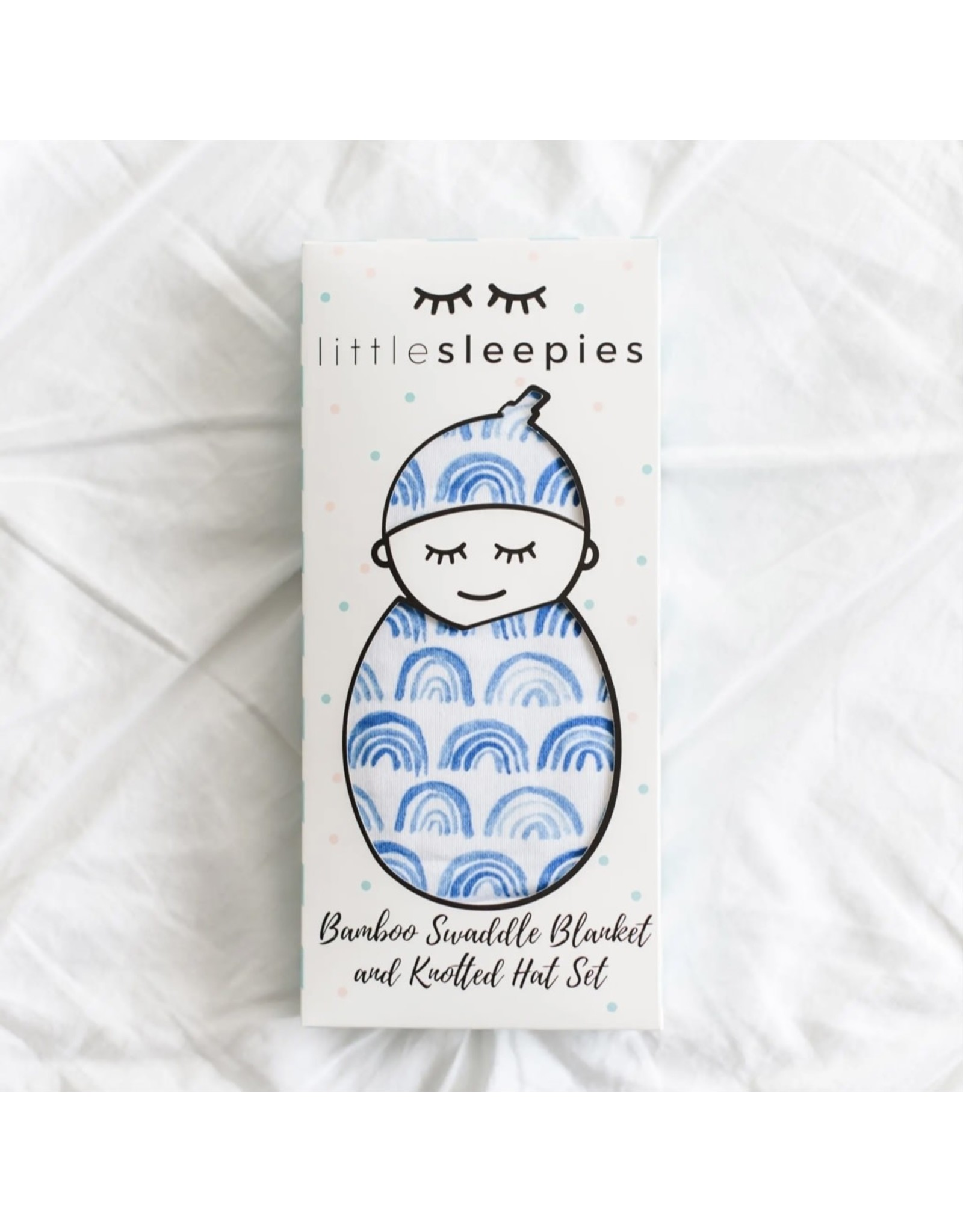 Little Sleepies Little Sleepies- Blue Rainbows Viscose Swaddle & Hat Set
