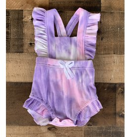loved by Jade Presley loved by jade presley- Purple Pink Tie Dye Ruffle Romper