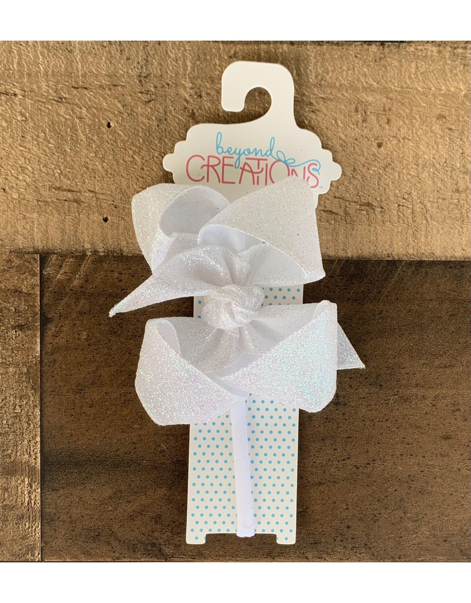 Beyond Creations Beyond Creations - White Glitter Metallic Bow on 1/4 HB