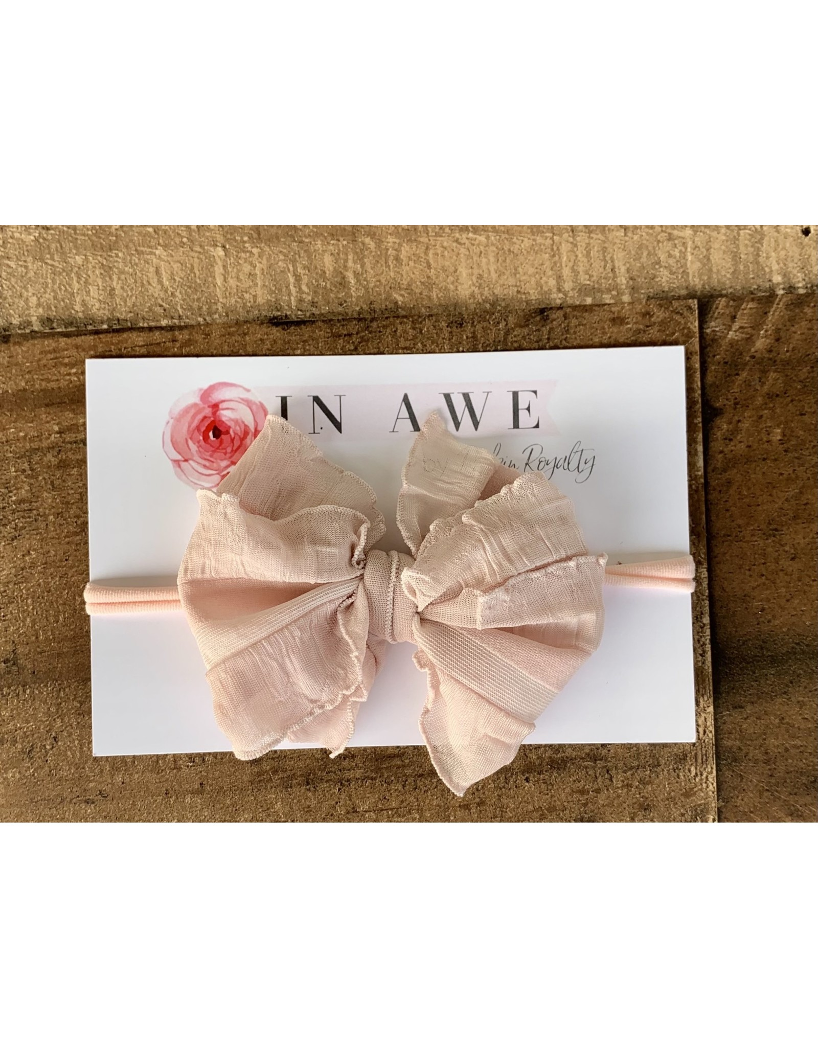 In Awe - Paris Pink Mini Ruffle Bow on Nylon Headband