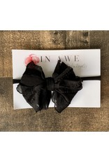 In Awe - Black Mini Ruffle Bow on Nylon Headband