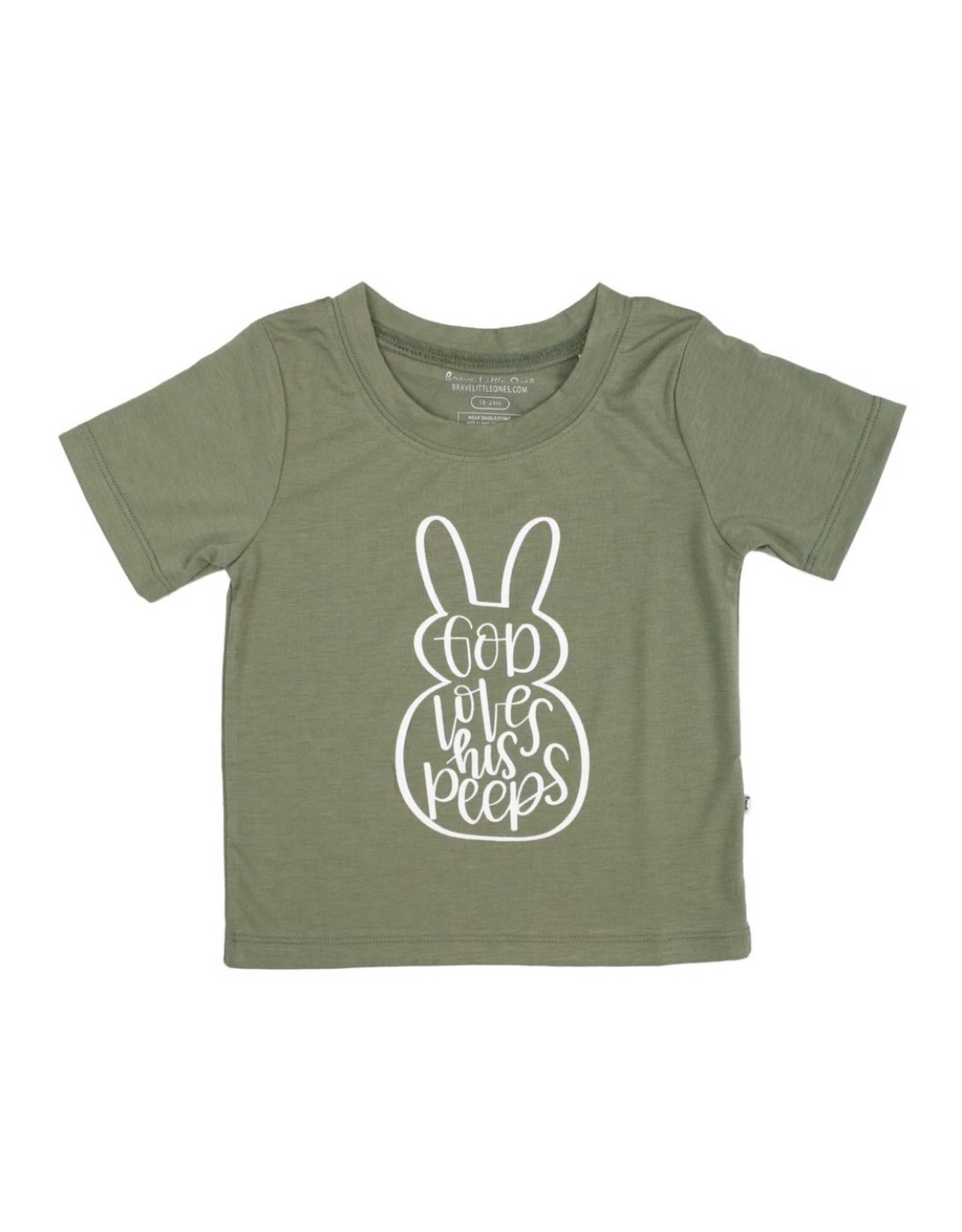 Brave Little Ones Brave Little Ones- God Loves His Peeps Shirt: Sage