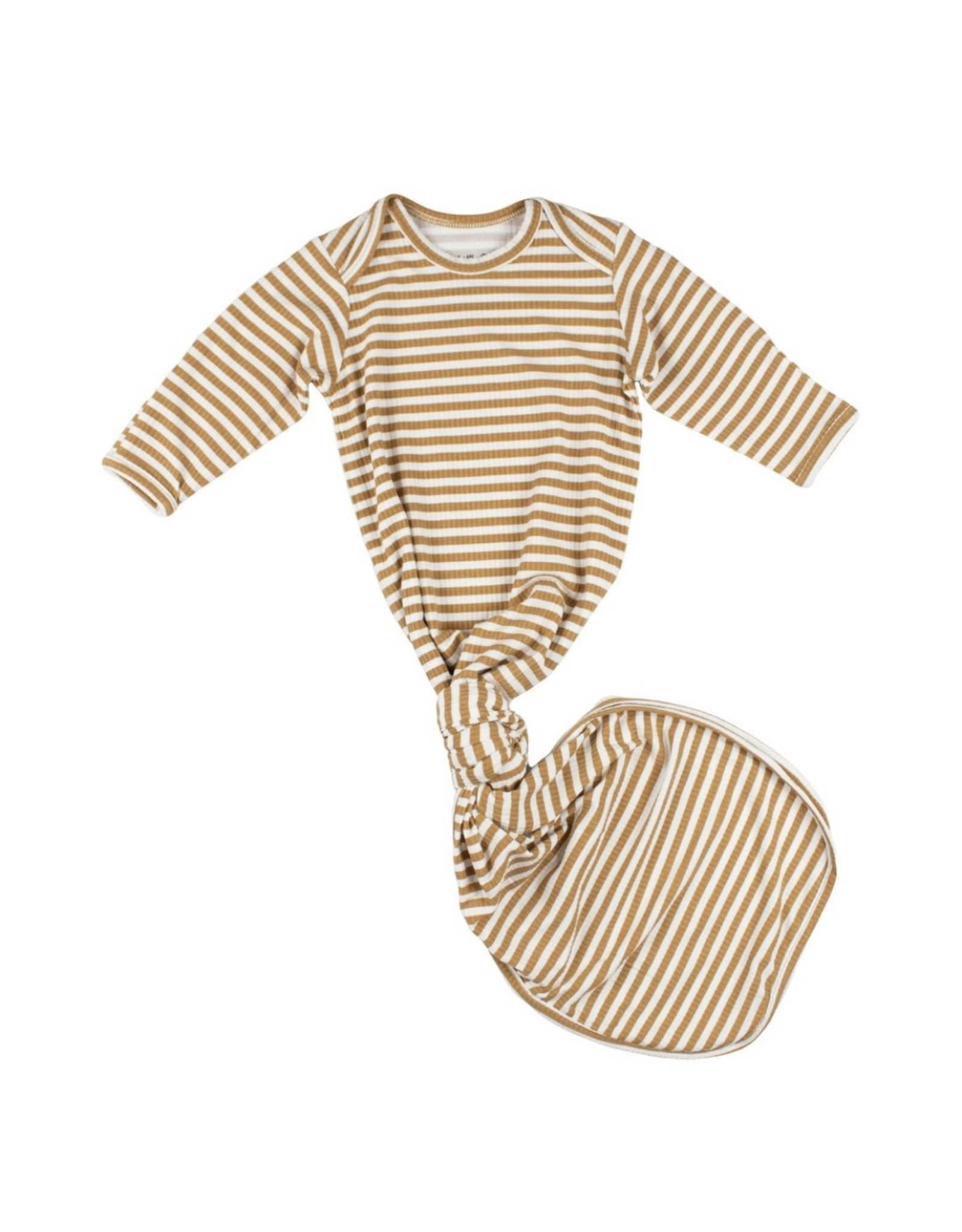 Brave Little Ones Brave Little Ones- Camel Striped Ribbed Knotted Gown 0-3M