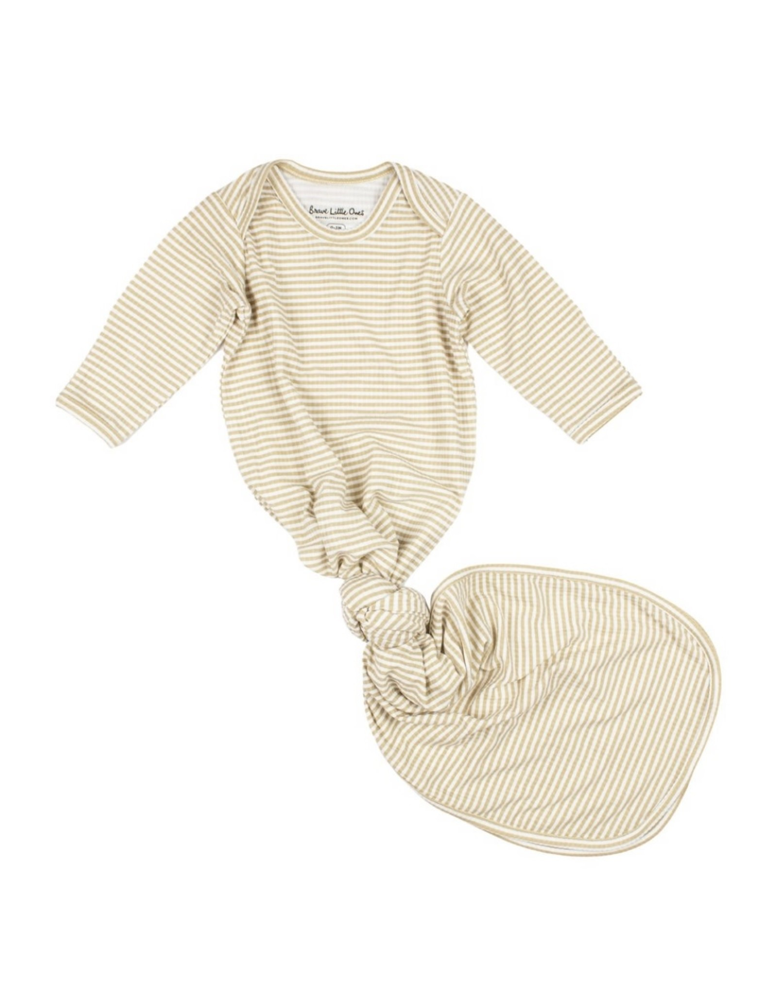 Brave Little Ones Brave Little Ones- Tan Stripe Ribbed Knotted Gown 0-3M