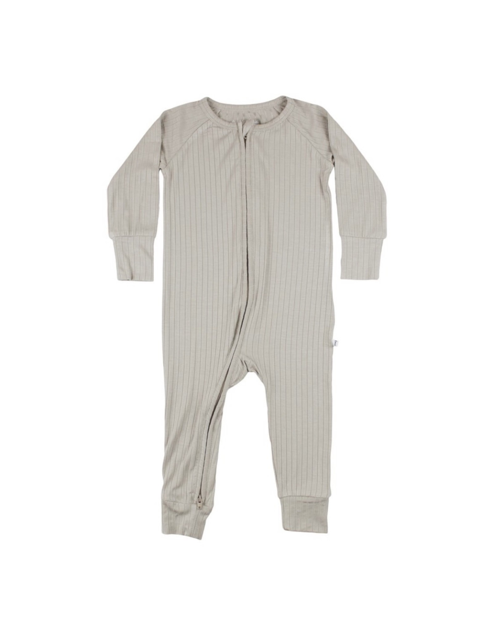 Brave Little Ones Brave Little Ones- Taupe Ribbed Zip Romper