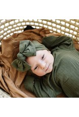 Brave Little Ones Brave Little Ones- Dark Olive Ribbed Knotted Gown 0/3M