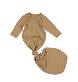 Brave Little Ones Brave Little Ones- Desert Camel Ribbed Knotted Gown 0/3M