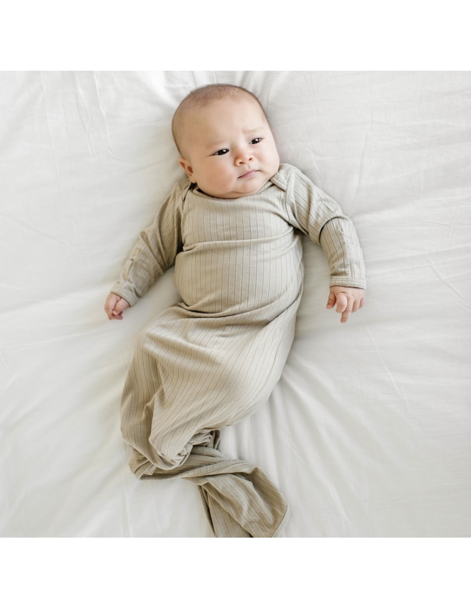 Brave Little Ones Brave Little Ones- Taupe Ribbed Knotted Gown 0/3M