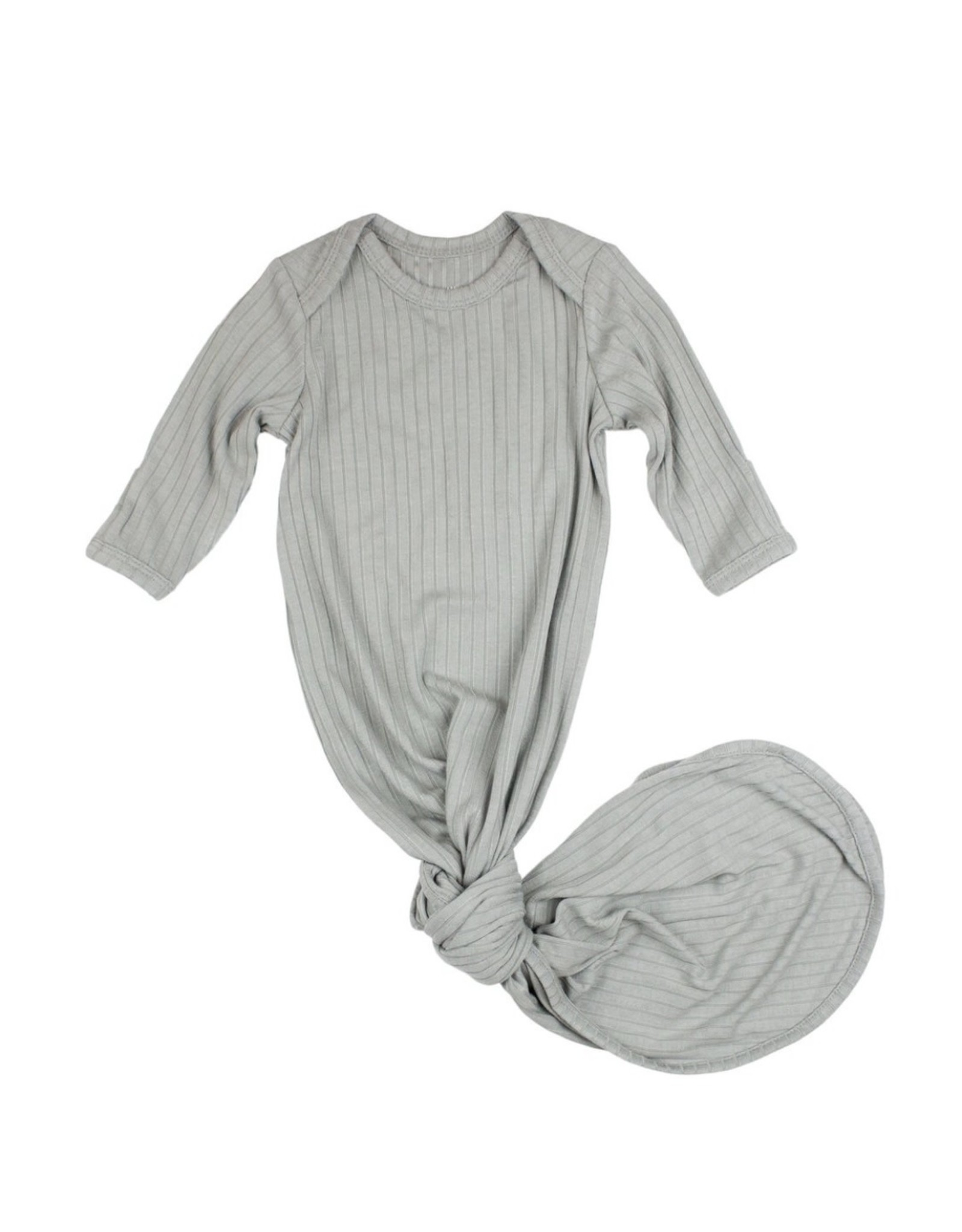 Brave Little Ones Brave Little Ones- Gray Ribbed Knotted Gown 0/3M