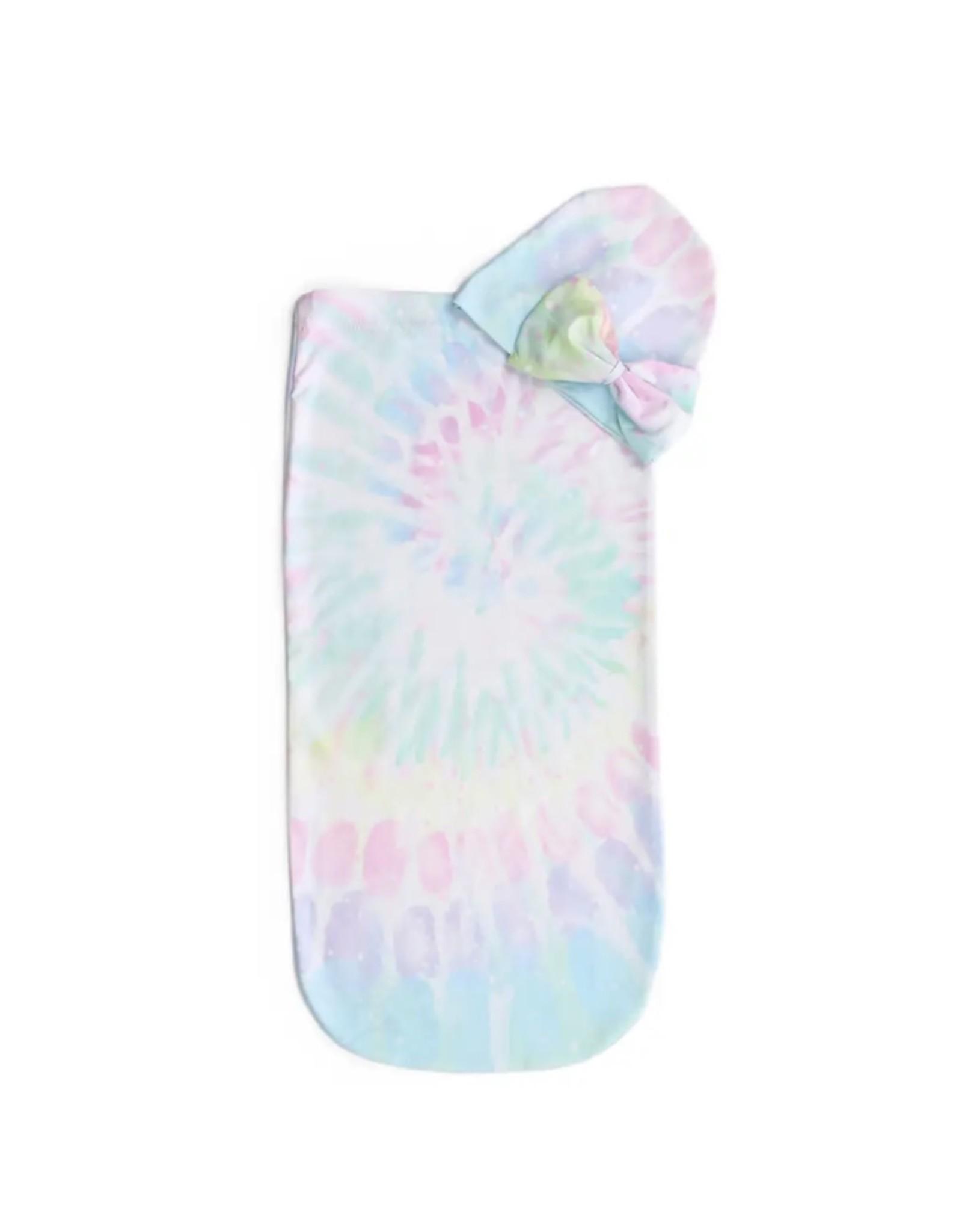 Itzy Ritzy Itzy Ritzy- Cutie Cocoon: Rainbow Tie Dye Cocoon & Hat Set 0-3M
