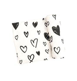 Angel Dear Angel Dear- Hearts Black & White  45X45 Swaddle