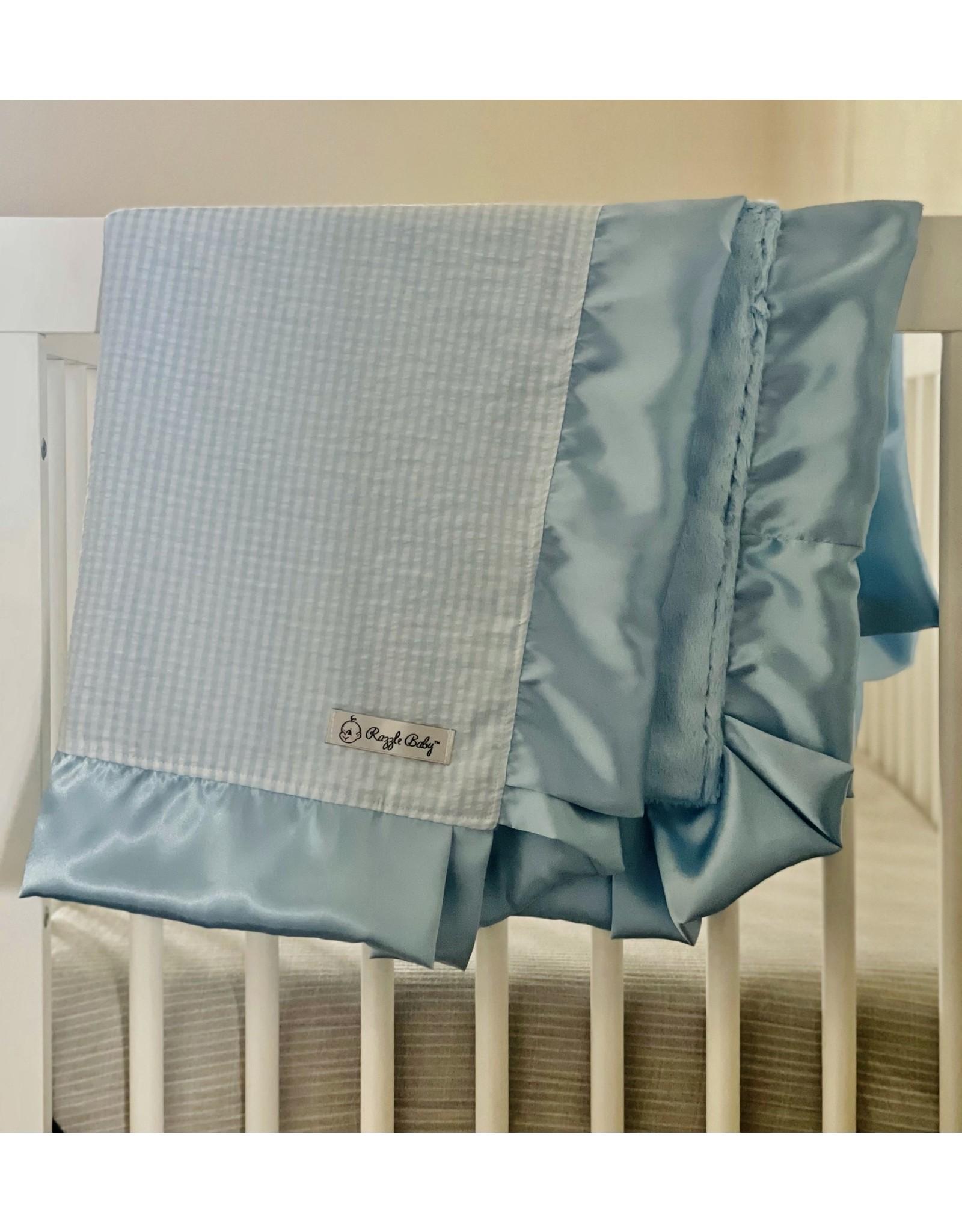 Razzle Baby- Double Plush Blue Seersucker Blanket