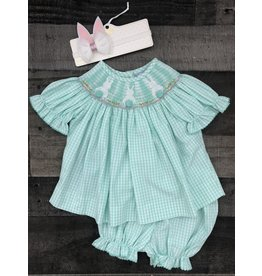 Three Sisters Three Sisters- Bunny A/S Smocked Bloomer Set
