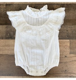 loved by Jade Presley White Lace Trim Romper