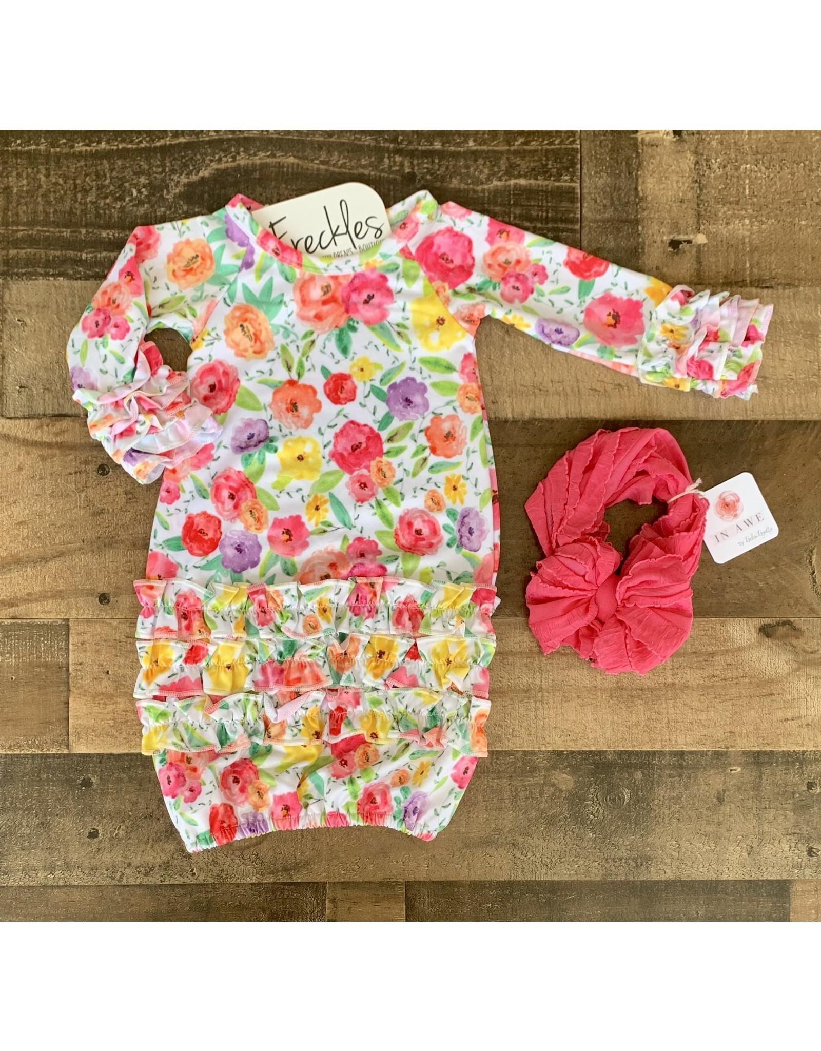 Bright Blooms Newborn Gown