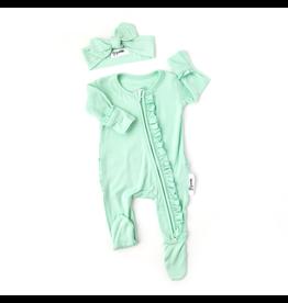 Gigi & Max Gigi & Max - Finley Ruffled Mint Newborn Footed Zip & Headband Set
