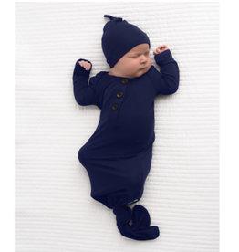 Gigi & Max James Navy Blue Knotted Gown & Hat Set NB-3m