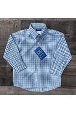 Cotton Blu- Green & Light Blue Plaid Button Down