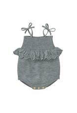 loved by Jade Presley loved by jade presley- Collyns Knit Sweater Ruffle Romper: Grey