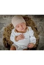 ILYBEAN Ily Bean- Tan White Striped Hat & Onesie