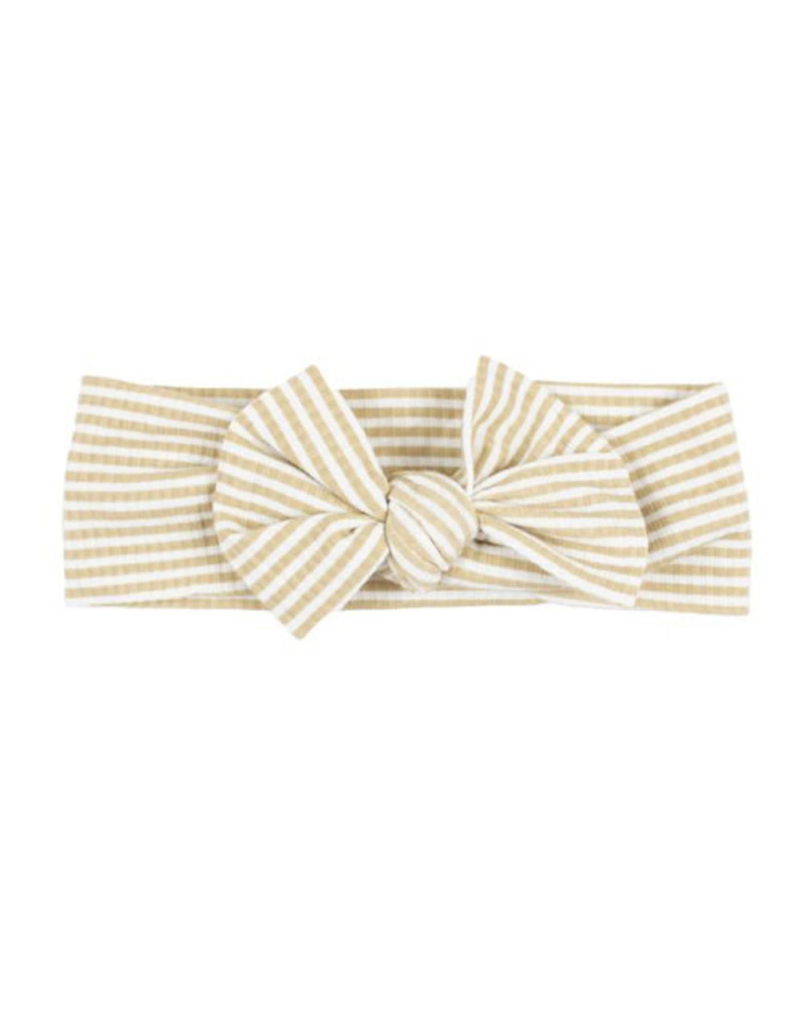Brave Little Ones Brave Little Ones- Tan Stripe Ribbed Bow Headband