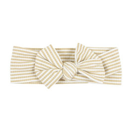 Brave Little Ones Brave Little Ones- Tan Stripe Ribbed Bow Headband