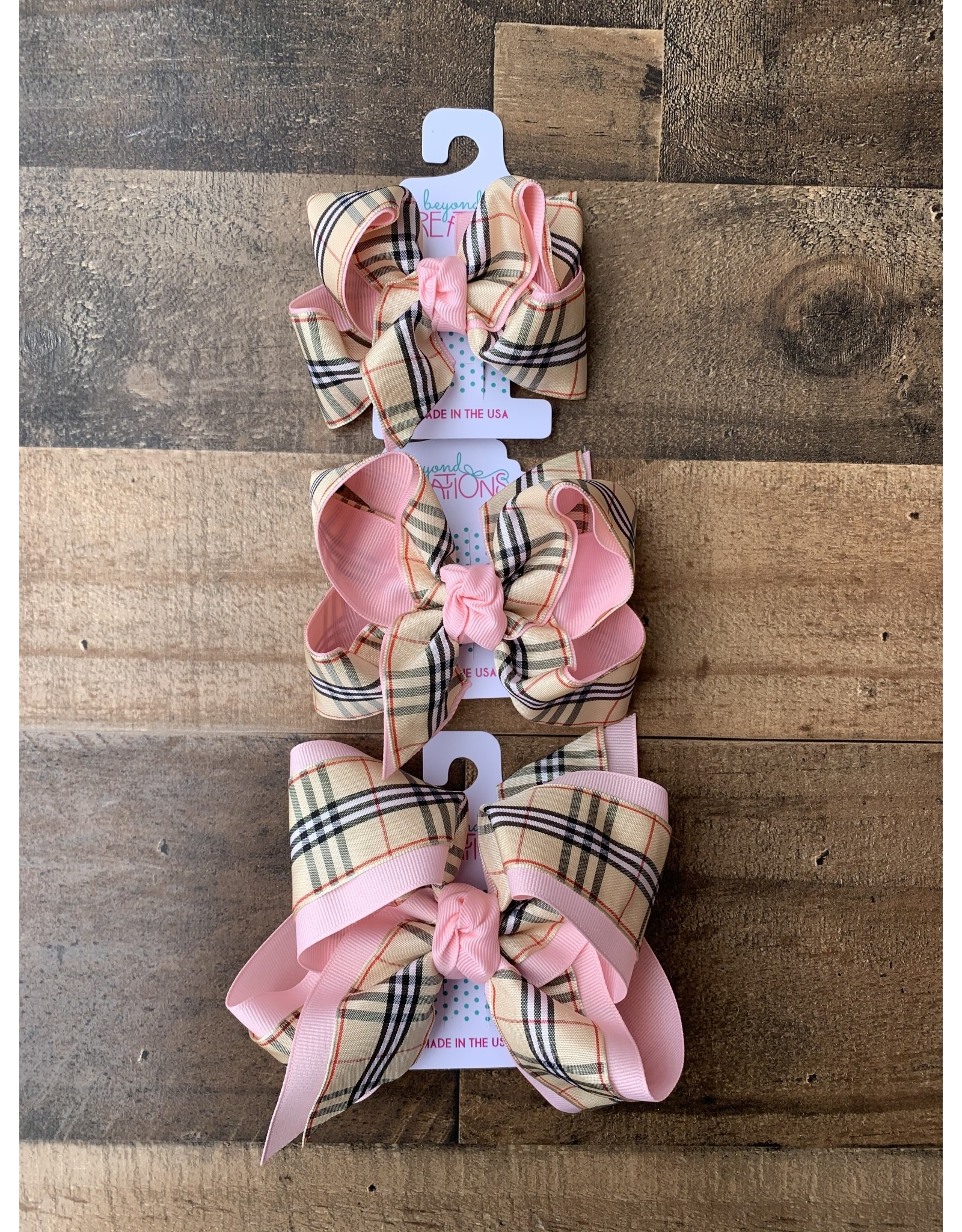 Beyond Creations Beyond Creations- Light Pink/Oatmeal Burberry Layered Knot Bow