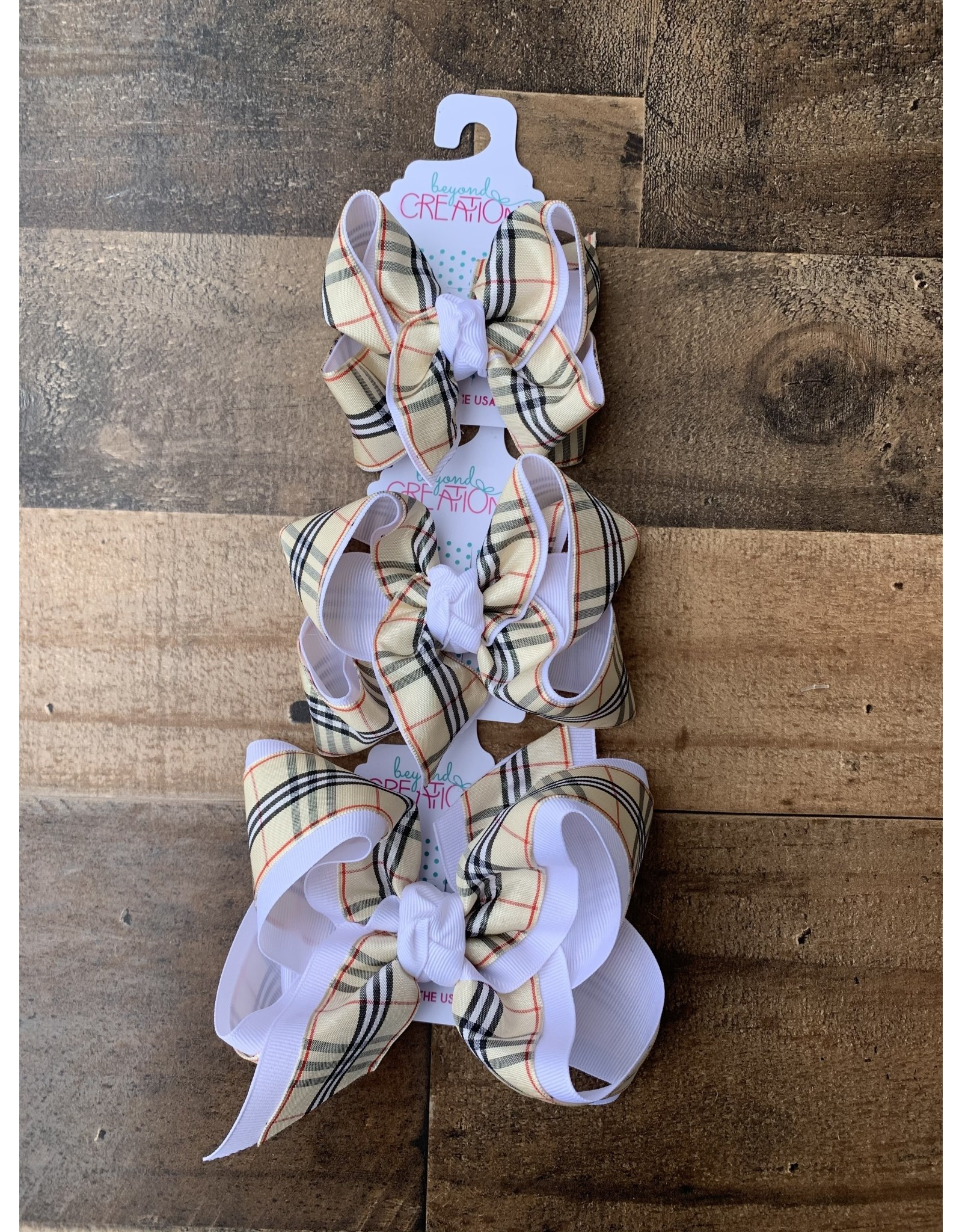 Beyond Creations Beyond Creations- White/Oatmeal Burberry Layered Knot Bow