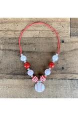 Red & White Baseball Pendant Necklace