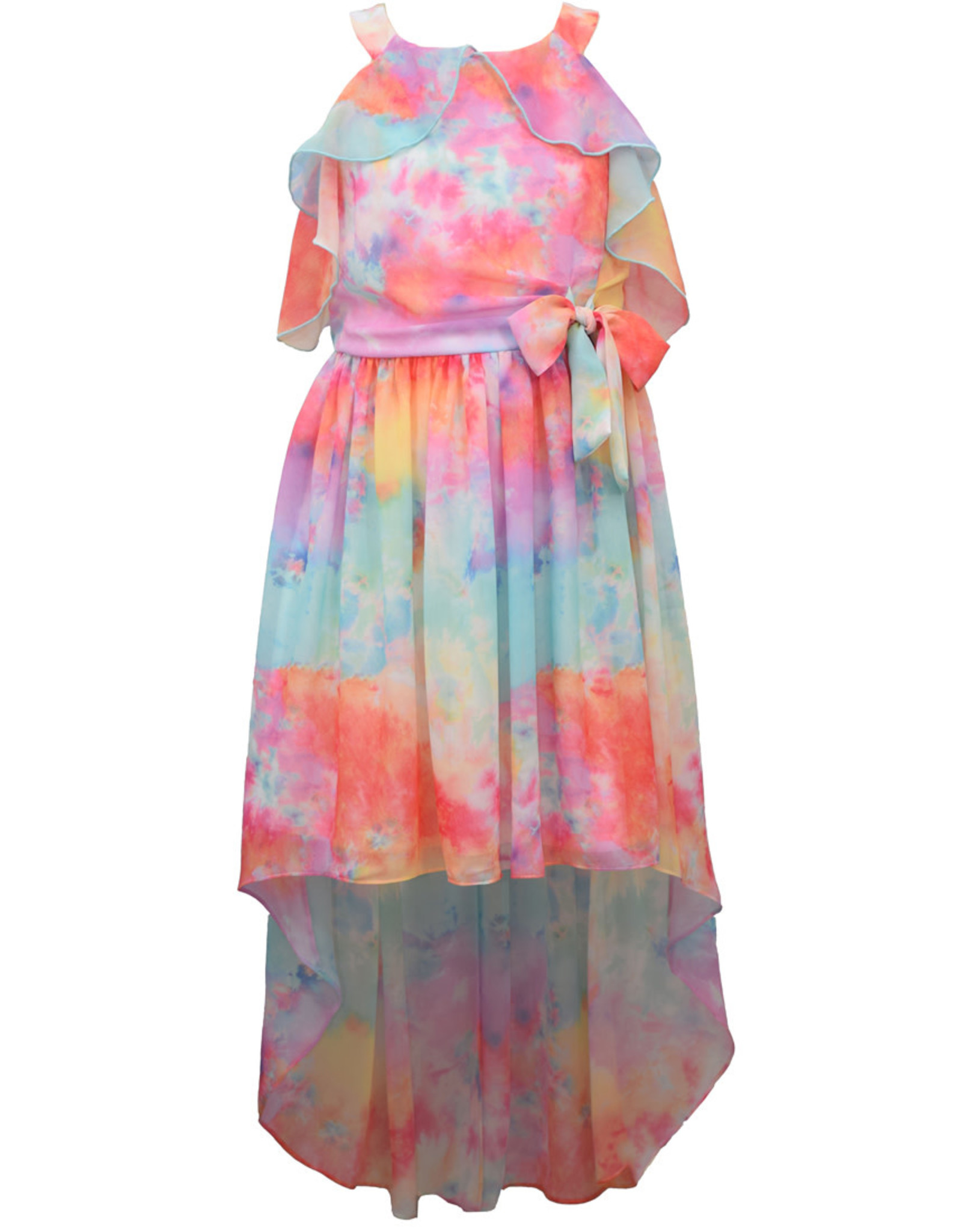Bonnie  Jean Bonnie Jean- Tie Dye Chiffon Hi Low Dress