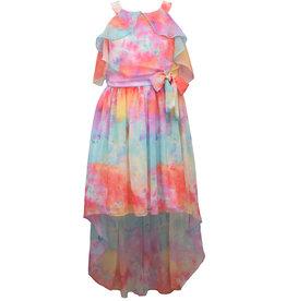 Bonnie  Jean Bonnie Jean- Tie Dye Chiffon Hi Low Dress