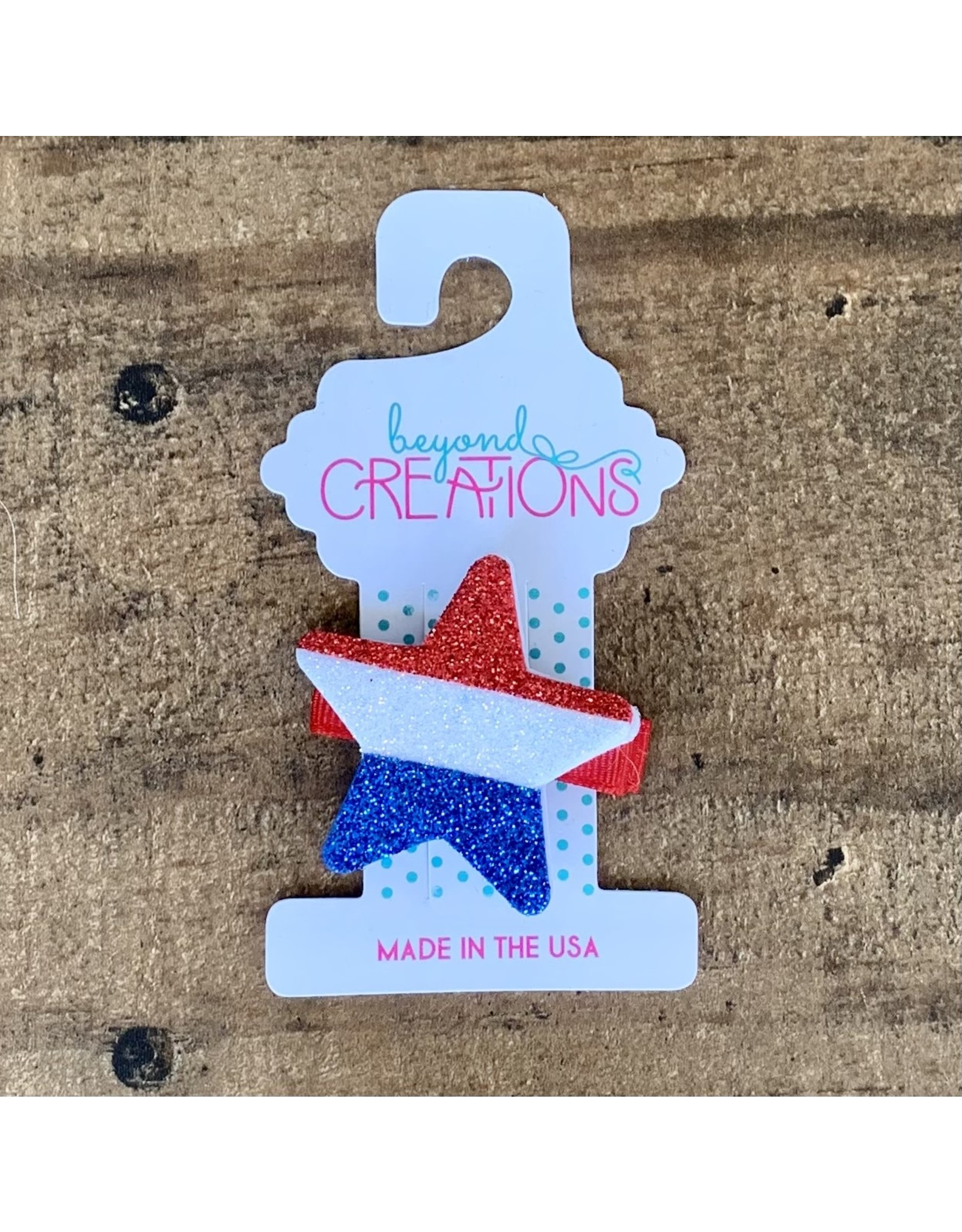 Beyond Creations Beyond Creations- Glitter Red, Wht & Blue Star Pinch Clip